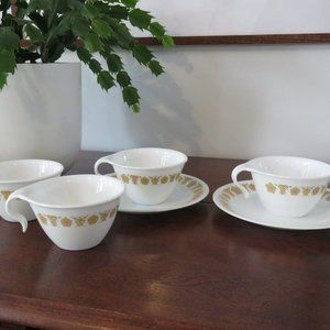 Butterfly Gold Corelle Tea/Coffee Cups with Open Handles (4) and Butterfly Print
